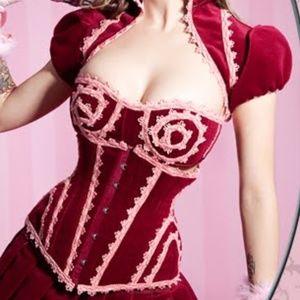 BIBIAN BLUE ringmaster corset, bra & bolero set M